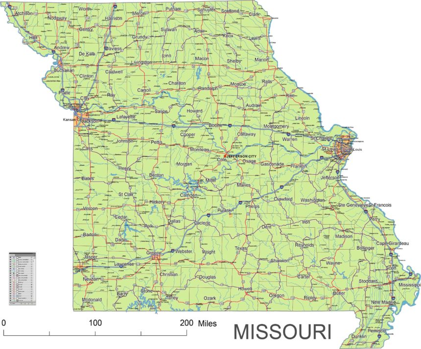 Missouri main roads and cities, water bodies, state/county/country boundaries, road lines, map symbols, map scale.