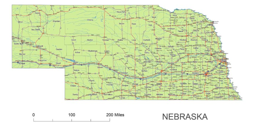 Nebraska main roads and cities, water bodies, state/county/country boundaries, road lines, map symbols, map scale.