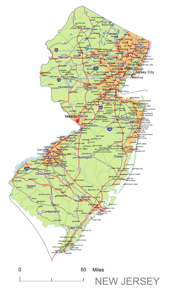 New Jersey main roads and cities