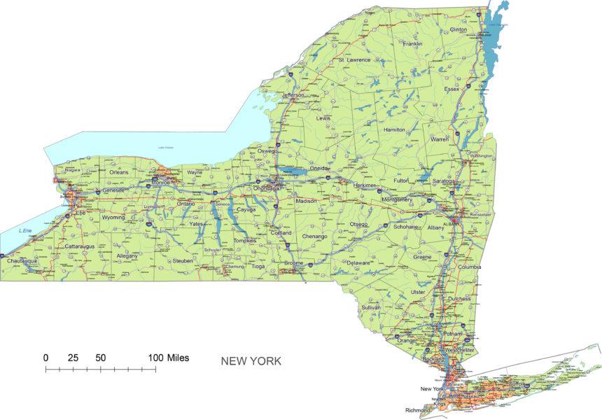 New York state main roads and cities