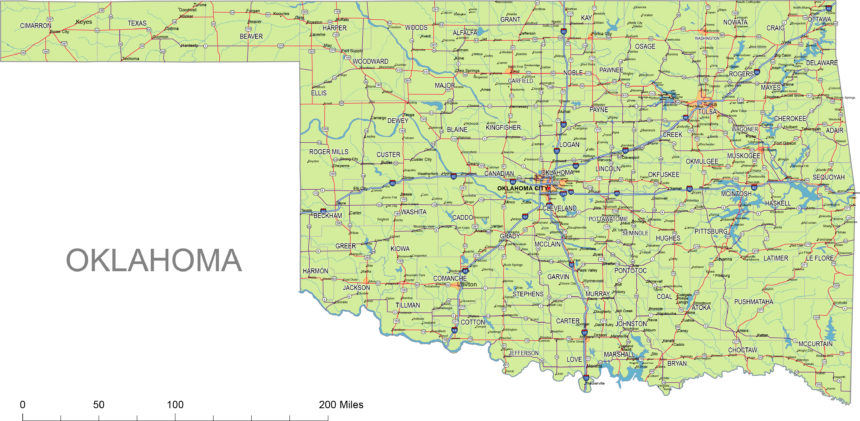 Oklahoma main roads and cities