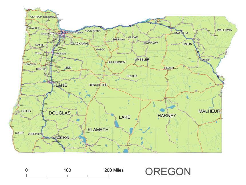 Oregon main roads and cities
