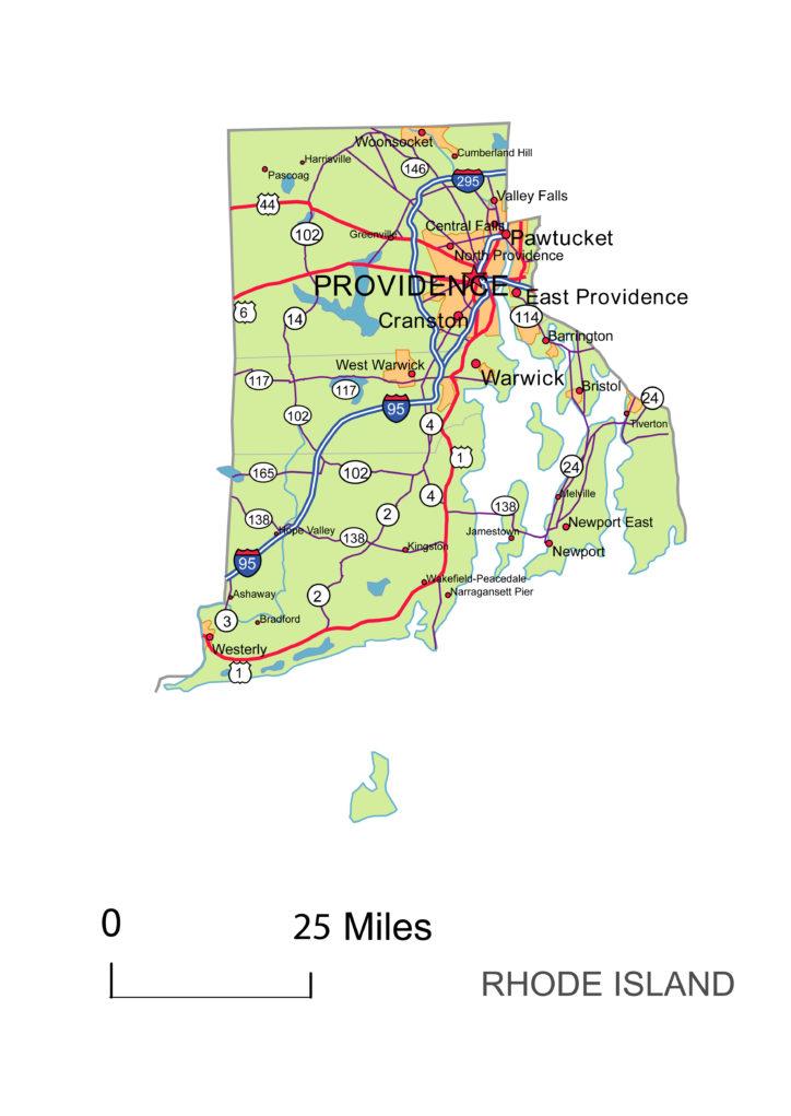 Rhode Island main roads and cities