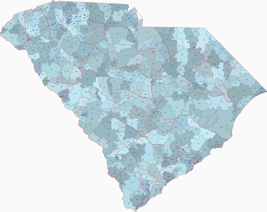 South Carolina 5 digit zip code digital map