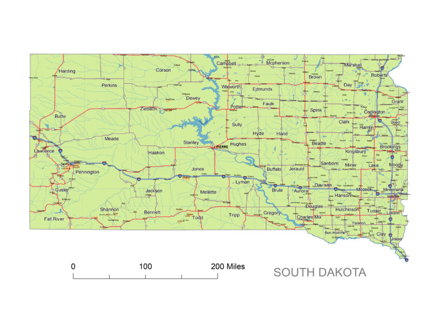 South Dakota main roads and cities
