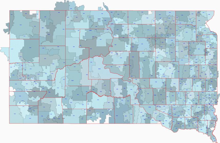 South Dakota zip code digital map