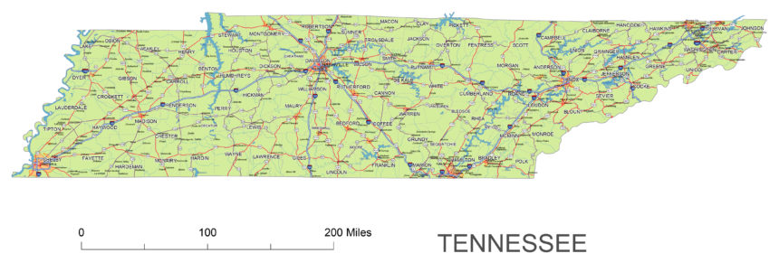 Tennessee main roads and cities
