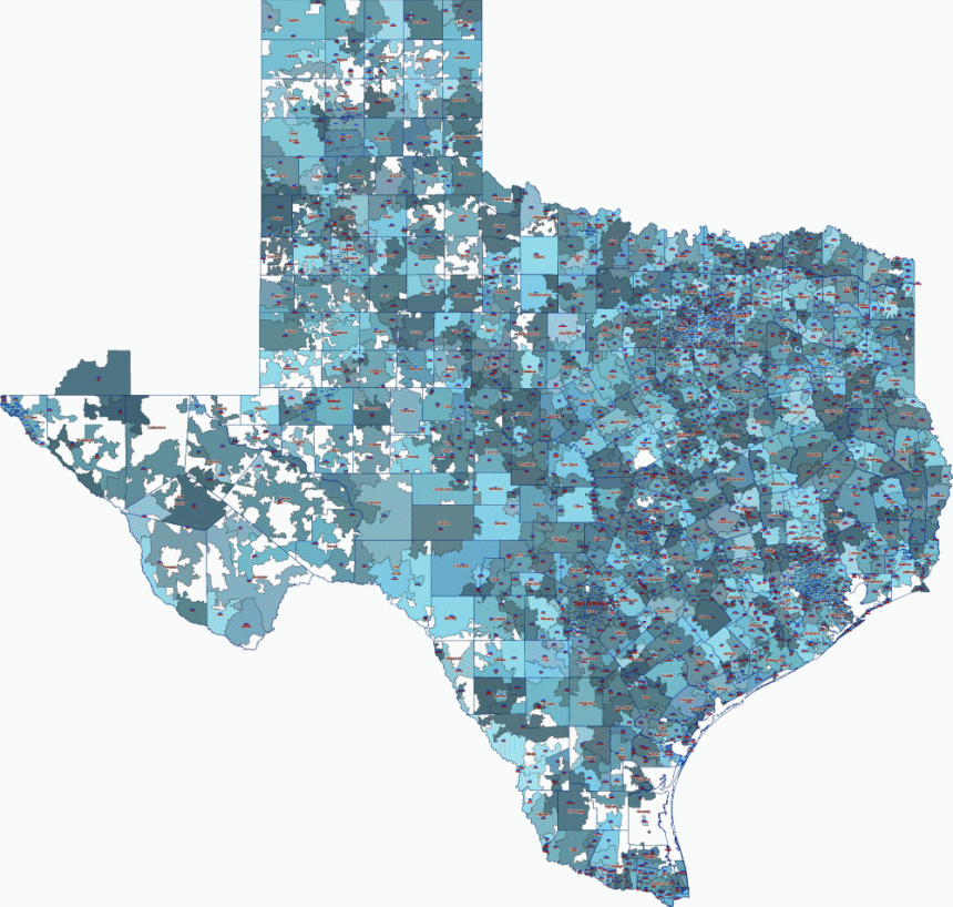 Texas state county and 5 digit zip code digital map