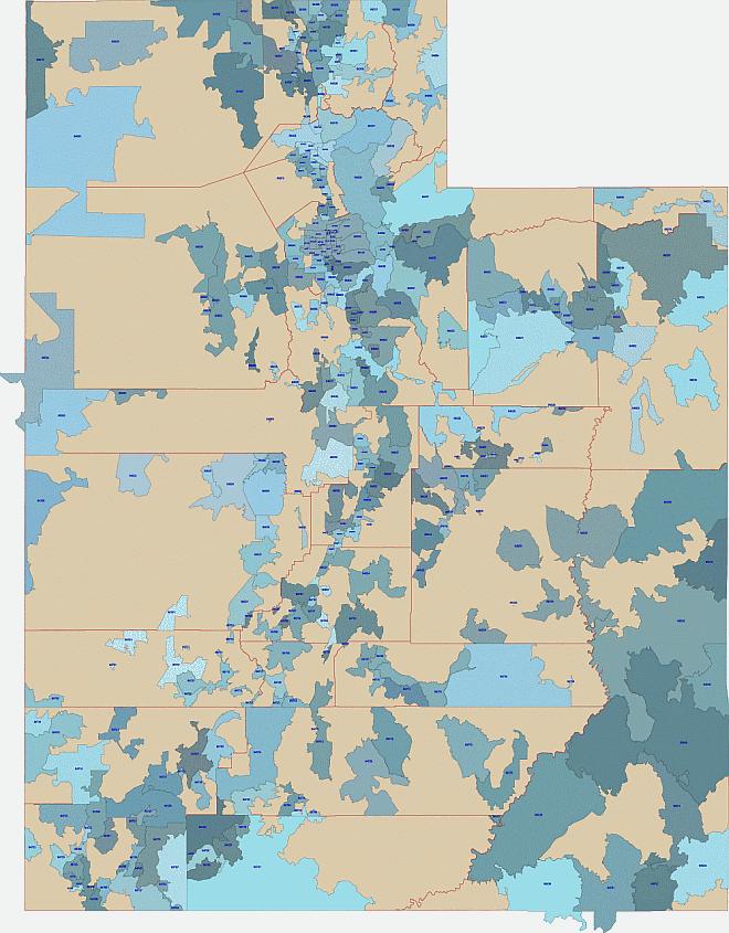 Utah 5 digit zip code map