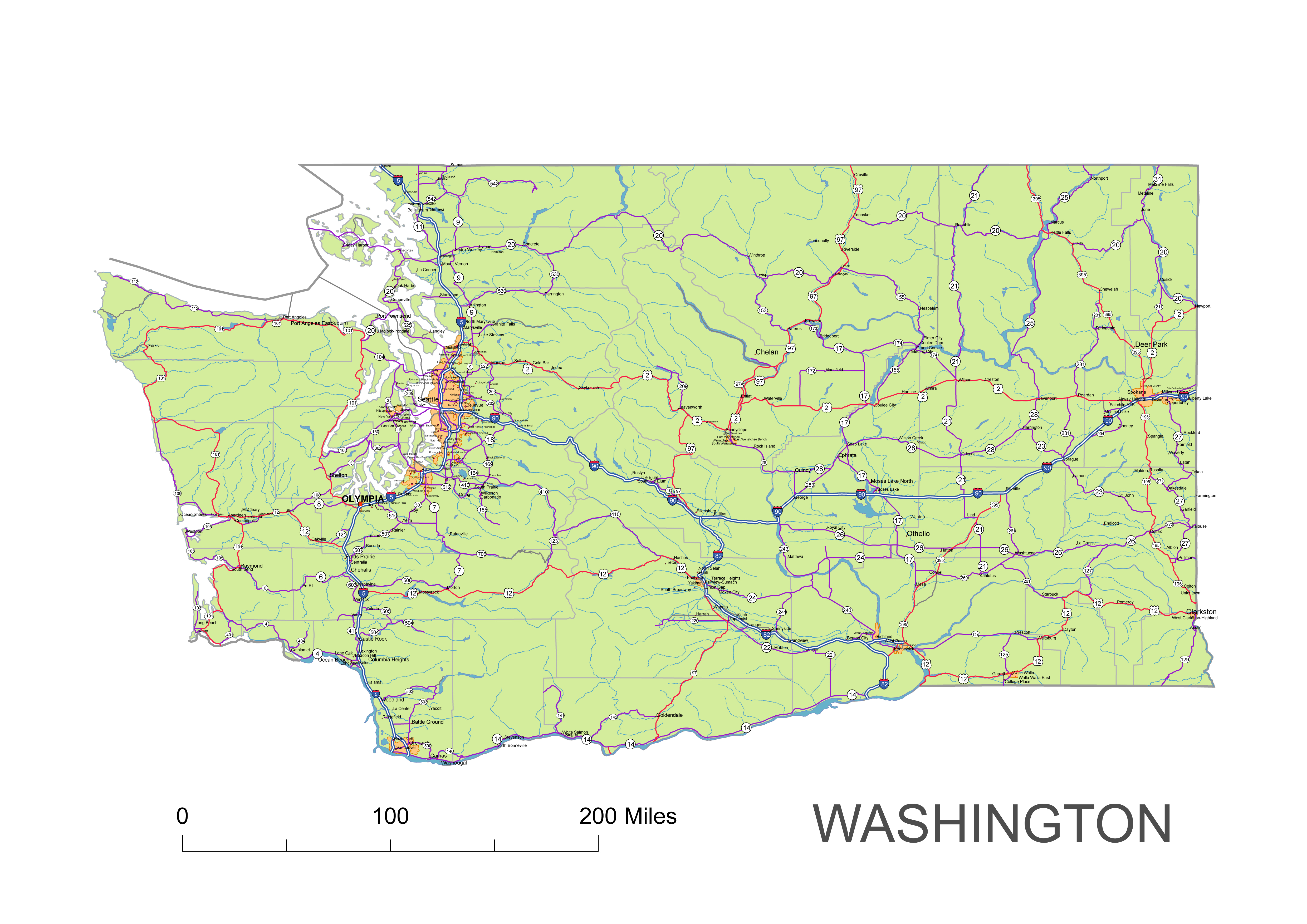 Picture of: Washington State Vector Road Map Lossless Scalable Ai Pdf Map For Printing Presentation