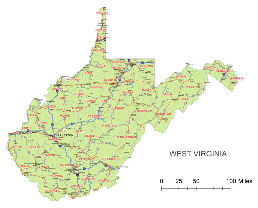 West Virginia main roads and cities