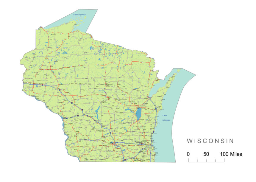 Wisconsin main roads and cities