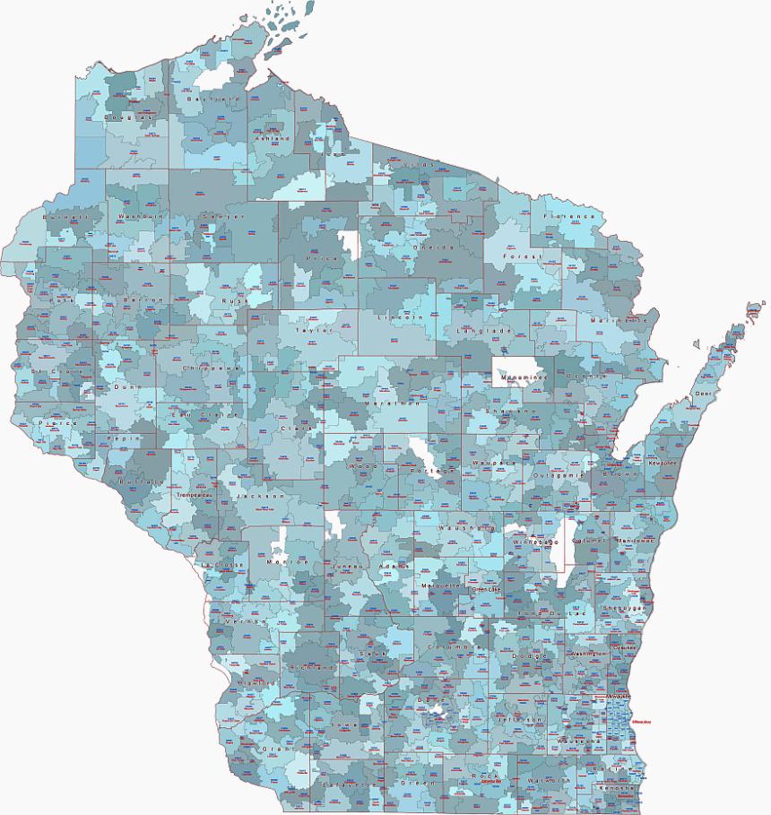 Wisconsin 5 digit zip code vector artwork.
