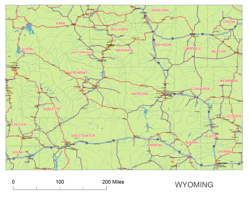 Wyoming state roads map