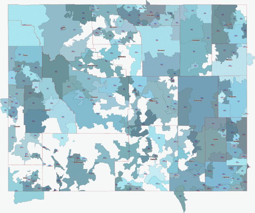 Wyoming pdf, AI files of zip codes
