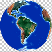 South America in center. Orthographic image