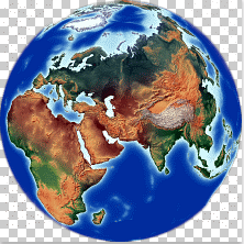 Middle Asia on Earth Globe