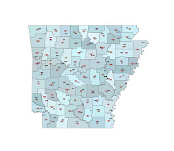 Editable Illustrator map of Arkansas state counties and their fips codes.