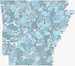 Arkansas digital zip code map