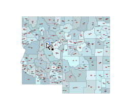 Editable Illustrator map of ID,MT,WY, state counties and their fips codes.