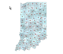 Counties, county seats and their fips codes of Indiana state