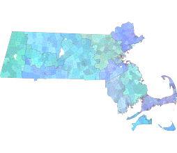Massachusetts county and zip code vector map. AI, PDF.