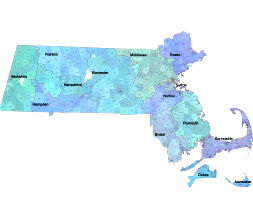 Massachusetts zip code map. City name, county shape and county name. AI, PDF, SHP file