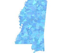 MS 5 digit zip code shapes & zip code numbers, county borders