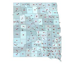 Counties, county seats and their fips codes of ND, SD states