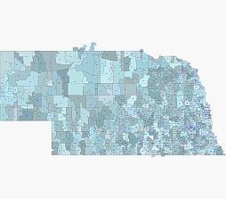 Nebraska simple zip code map. Editable.