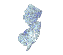 Simple zip code vector map of New Jersey state.