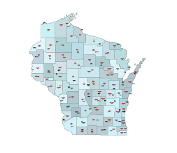 Counties, county seats and their fips codes of Wisconsin state